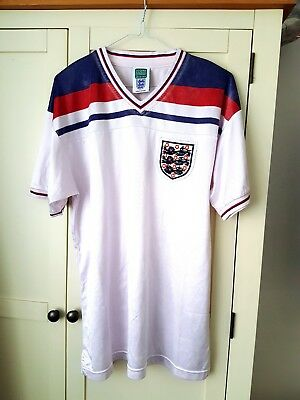 England Retro Home Shirt. Large. Score Draw. White Adults Football Top Only L.