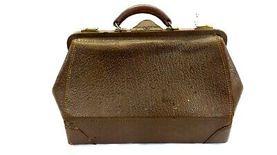 Antique Doctor Bag Satchel Large Size Brown Walrus Leather Early 1900'S