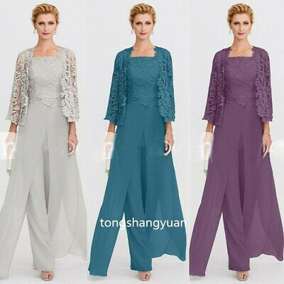 Women's Mother Of The Bride Dresses Pants Suit Outfits Lace Jackets Guest Gowns