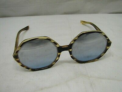 117b5e1c6e850 Vintage Faux Tortoise Shell Ladies Oversize Sunglasses Mirrored Shades  Octagonal