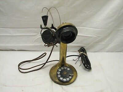 Brass Rotary Dial Candlestick Telephone w/Western Electric Head Set Candle Stick