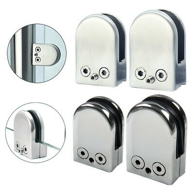 STAINLESS STEEL D SHAPE FLAT BACK GLASS CLAMPS/BRACKETS suitable 10-12mm glass