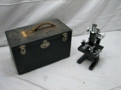 Vintage Bausch &Lomb Optical Microscope/Case Oil 97X Objective Compound Stage C