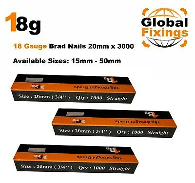 18g Straight 500 x 20mm Brad Nails, galv to suit all 18g nailers