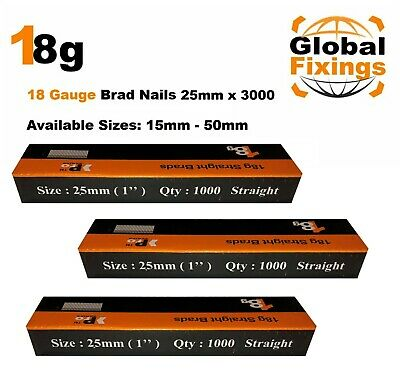 18g Straight 500 x 25mm Brad Nails, galv to suit all 18g nailers