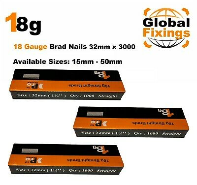 18g Straight 500 x 32mm Brad Nails, galv to suit all 18g nailers