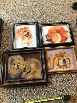 Lot  Of 4 Framed  Chow Chow Dog Framed Art 2 Pictures By The Same Artist 2002