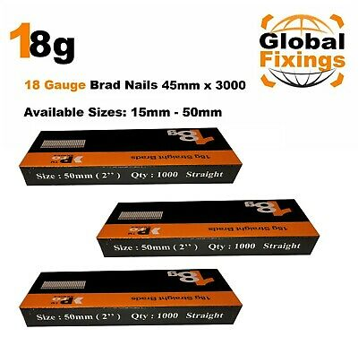 18g Straight 500 x 45mm Brad Nails, galv to suit all 18g nailers