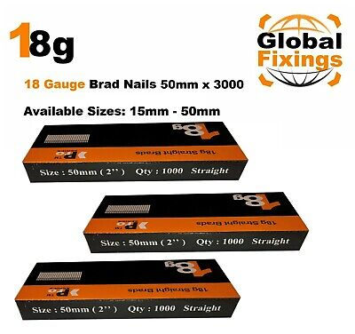 18g Straight 500 x 50mm Brad Nails, galv to suit all 18g nailers