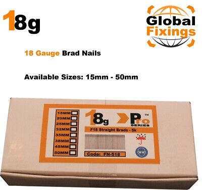 18g Straight 2000 x 20mm Brad Nails, galv to suit all 18g nailers