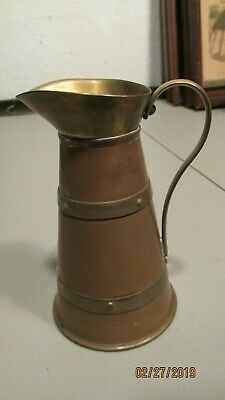 "Copper and Brass  Arts  Crafts pitcher 5 1/4""  ENGLAND"