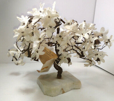 Vintage White Bonsai wire Prosperity Tree with marble base and brass bells