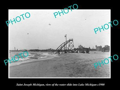 OLD LARGE HISTORIC PHOTO OF SAINT JOSEPH MICHIGAN, VIEW OF THE WATERSLIDE c1900