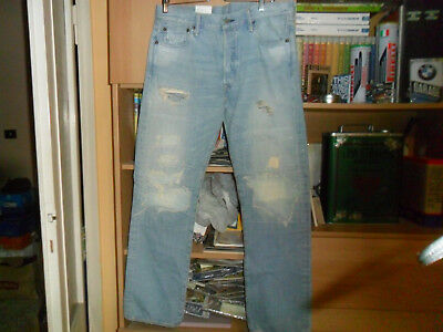 28f81780 LEVI'S 501 JAPAN MADE DENIM DISTRESSED TAPERED LEG BUTTON FLY JEANS 34x32  BNWT