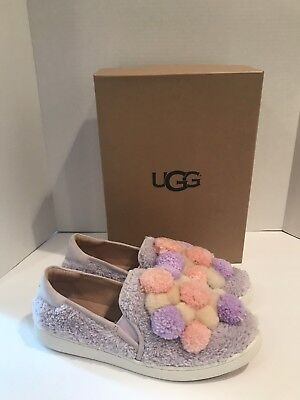 8e4c0723380 UGG LAVENDER FOG Ricci Fluff Pom Pom Slip-On Sneakers Shoes