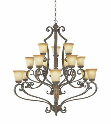 Venetian Bronze And Gold 15 Light Chandelier With Fresco Beige Glass Orig $2850