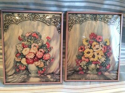 Pair Glass Convex Silhouette Bouquets flowers Floral Framed Picture Vintage