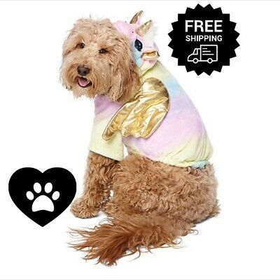 Pet Dog Unicorn Costume Pajamas Jumpsuit Outfit Magical Hood Sz Small Large