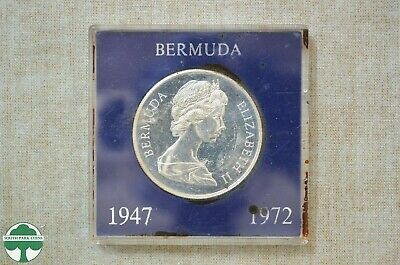 1972 Silver Wedding One Dollar - Bermuda - Elizabeth Ii