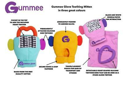 Gummee Glove Silicone Heart BABY Teething Ring Mitten Toy Yellow Pink Blue PLUS