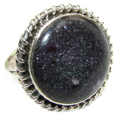 Lapis Lazuli Ring  size 9 1/4 925 Sterling Solid Silver 10g Handmade Rings by SR