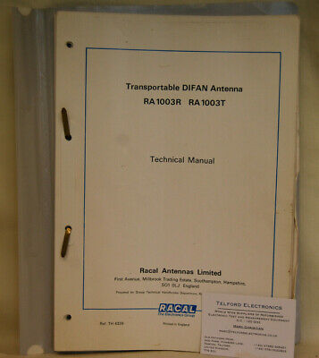 Racal TRA1003R/1003T Transportable DIFAN Antenna Technical Manual