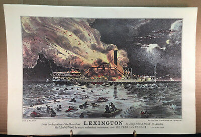 """1974 Vintage Currier /& Ives STEAM SHIPS /""""LEXINGTON BURNING/"""" NY COLOR Lithograph"""