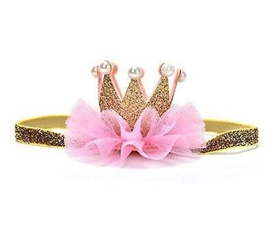 Baby Girls Pink Gold Crown Tiara Birthday Party Headband Cake Smash Photo Prop