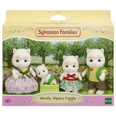 Sylvanian Families Woolly Alpaca Family - Father, Mother, Girl & Baby Figures