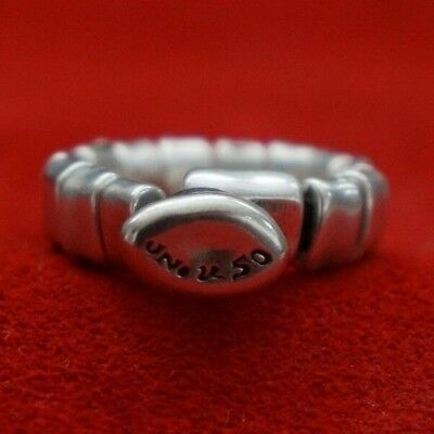 NEW Engraved Button Uno De 50 Stamped Silver Bar Band Statement Ring 7