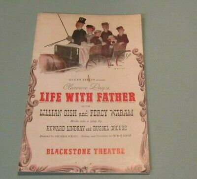 1941 Life With Father Chicago Theatre Playbill Lillian Gish Percy Waram Vintage