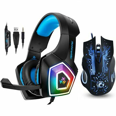 V1 Gaming Headset Stereo Bass Heaphone With Mic LED Light For PS4 + Pro Mouse