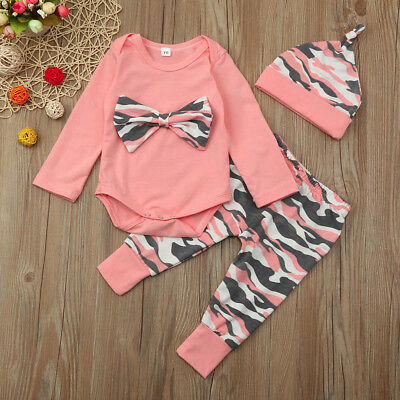 Infant Toddler Baby Girls T Shirt+Camoufalge Pants Romper Outfits Set Clothes AB