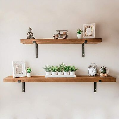 1 x Rustic Wooden Wall Shelf Large Industrial Wood Floating Storage Unit kitchen