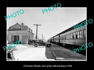 OLD LARGE HISTORIC PHOTO CLEWISTON FLORIDA, THE RAILROAD DEPOT STATION c1940