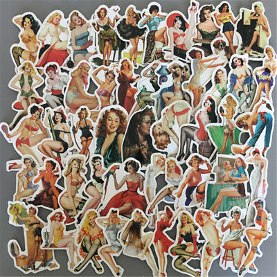 50Pcs Pvc Sexy Beauty Girls Stickers Phone Laptop Skateboard Luggage Decal To FD