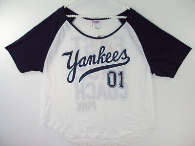 6ab7b15347 Victorias Secret PINK New York Yankees NY T Shirt Jersey Size Large Top Nwt