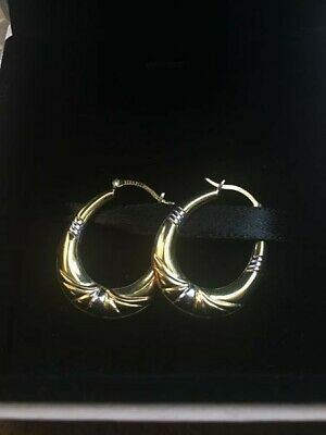 0fb853e64 Warren James Lydia 9ct Gold and Silver Bonded Hoop Earrings. NEW, NEVER  WORN.