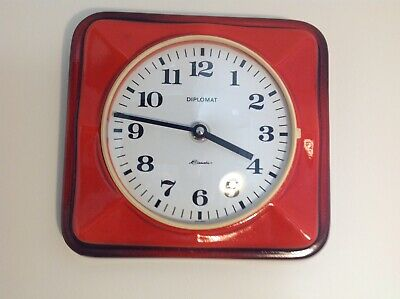 Red Fat Lava Vintage German Ceramic Wall Clock Junghans Quartz 60s 70s Retro MCM