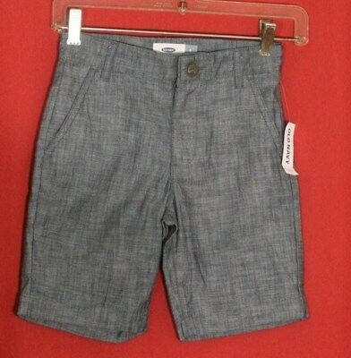 Old Navy NWT Chambray Denim Jean Shorts Boys Size 6 Navy Blue Adjustable Waist