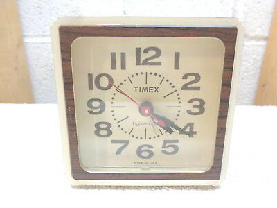 Vintage TIMEX Lighted Dial Faux Woodgrain Snooze Electric Alarm Clock~7413-4A