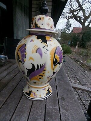 Prunk - Deckel - Vase Societe Ceramique Maestricht Holland Art Deco Höhe: 40 cm