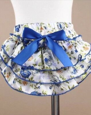 Baby Ruffle bloomer Blue Diaper Cover Medium (6-12m)