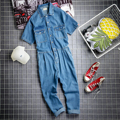 New Mens Denim Coveralls Loose Jumpsuit Casual Pants Jeans Trousers Overalls