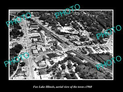 OLD LARGE HISTORIC PHOTO FOX LAKE ILLINOIS, AERIAL VIEW OF THE TOWN c1960