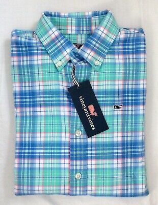 Vineyard Vines Boys L//S Bahama Breeze Sandspar Plaid Whale Flannel Shirt