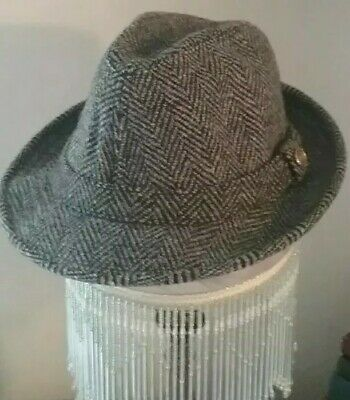 94db414a31acd Vintage Pendleton Fedora Men s Hat Size 7 3 8 100% Virgin Wool Gray Tweed