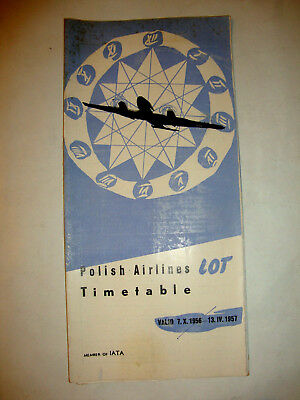 Lot Polish Airlines Timetable 1956 - 1957.