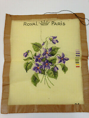 Royal Paris Needlepoint Petit Canvas - Violets #01- Fine Gauge -As Is