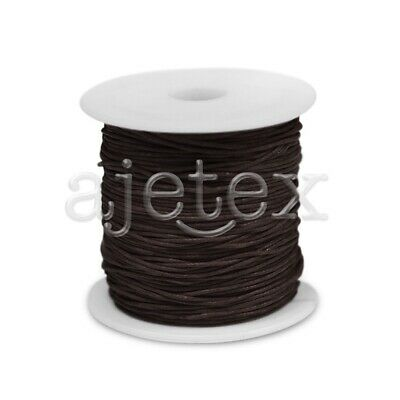 1 Roll 70M Waxed Cotton Cord Jewellery Craft Beading Thread 1x1mm Dark Brown